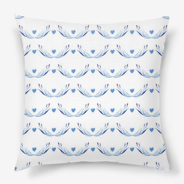 Подушка «Голубые ветки акварель»