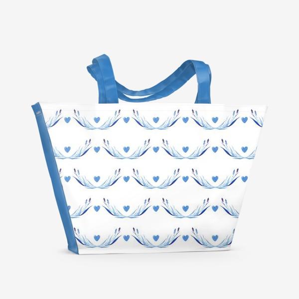 Пляжная сумка «Голубые ветки акварель»