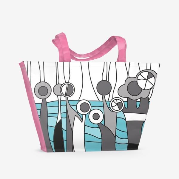 Пляжная сумка «Космический лес цветы»