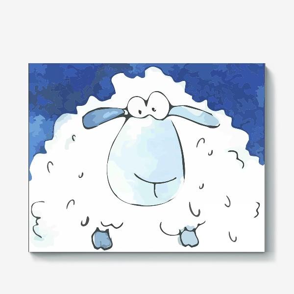 Холст «Кудрявая белая овечка»
