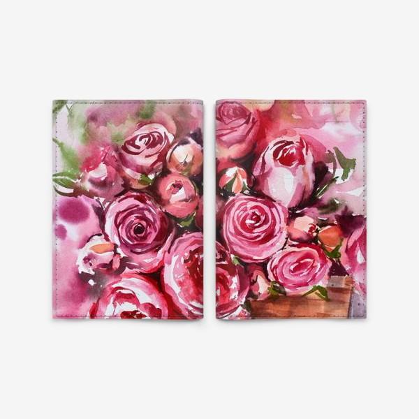 Обложка для паспорта «Акварельные розы»