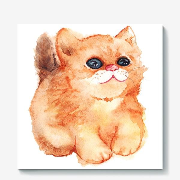 Холст «Акварельный рыжий пушистый кот с большими глазами»