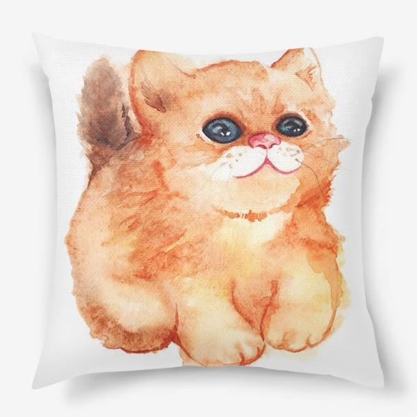 Подушка «Акварельный рыжий пушистый кот с большими глазами»