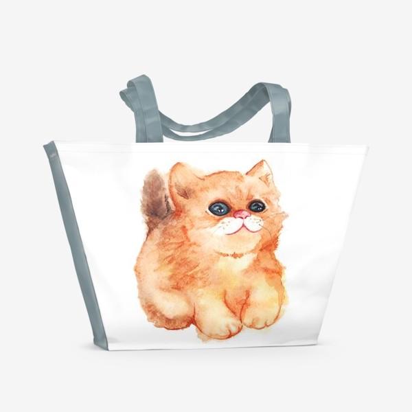Пляжная сумка «Акварельный рыжий пушистый кот с большими глазами»