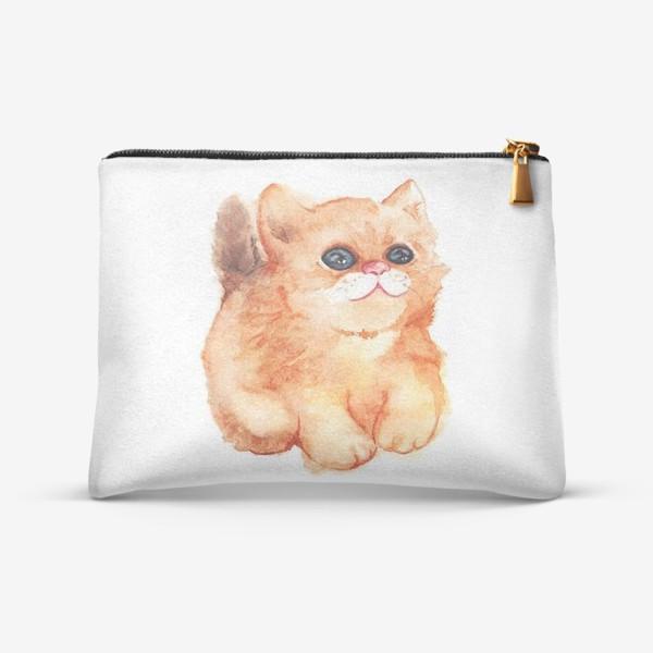 Косметичка «Акварельный рыжий пушистый кот с большими глазами»