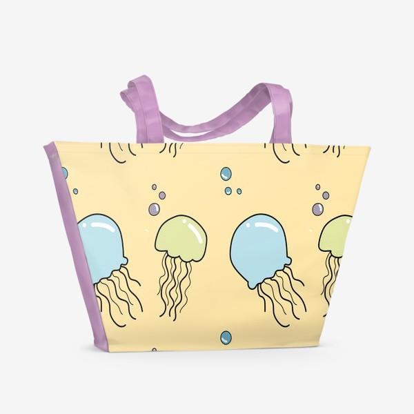 Пляжная сумка «Паттерн с медузами»