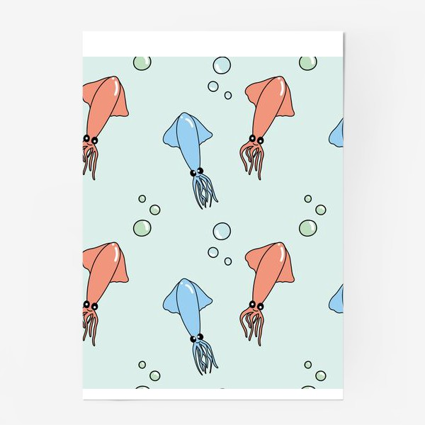 Постер «Паттерн с кальмарами на голубом»