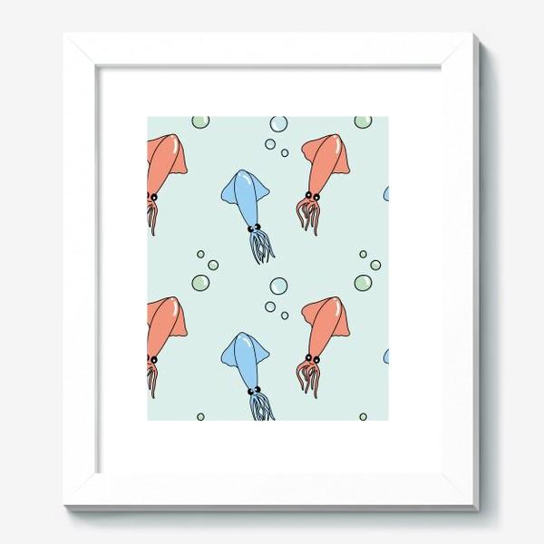 Картина «Паттерн с кальмарами на голубом»