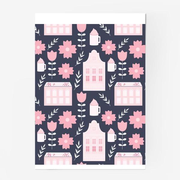 Постер «Голландские домики в пастельном розовом цвете.»