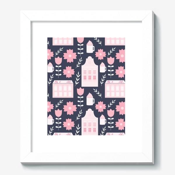Картина «Голландские домики в пастельном розовом цвете.»