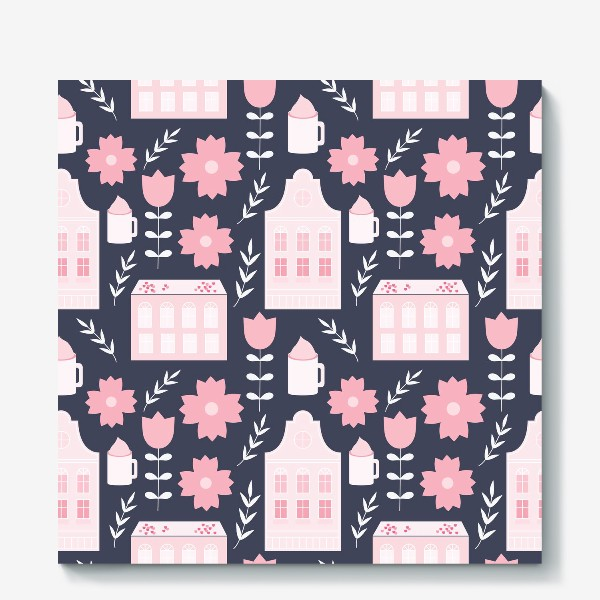 Холст «Голландские домики в пастельном розовом цвете.»