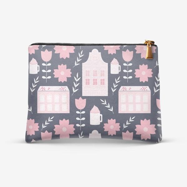 Косметичка «Голландские домики в пастельном розовом цвете.»