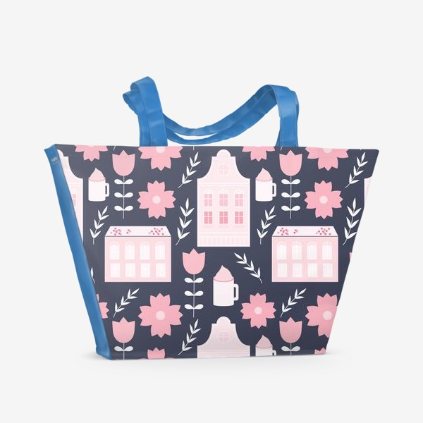 Пляжная сумка «Голландские домики в пастельном розовом цвете.»