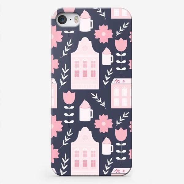 Чехол iPhone «Голландские домики в пастельном розовом цвете.»