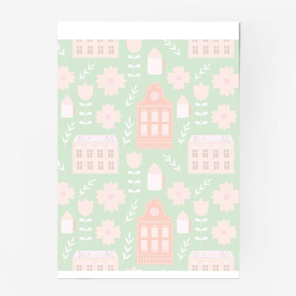 Постер «Голландские домики. Мятный и персиковый.»