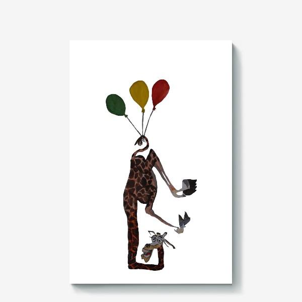 Холст «Жираф на воздушный шарах»