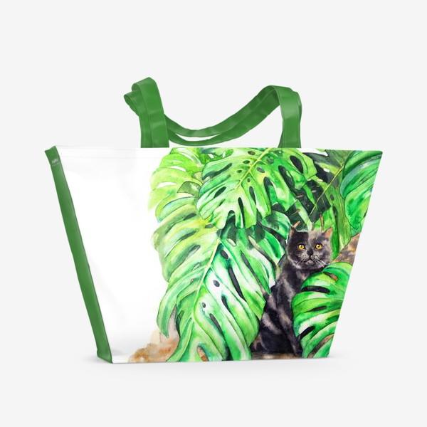 Пляжная сумка «Британский кот с листьями монстеры»