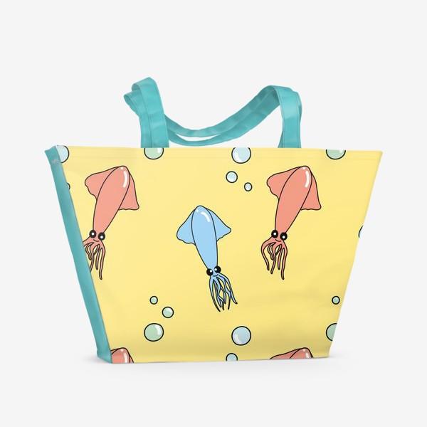 Пляжная сумка «Паттерн с кальмарами»