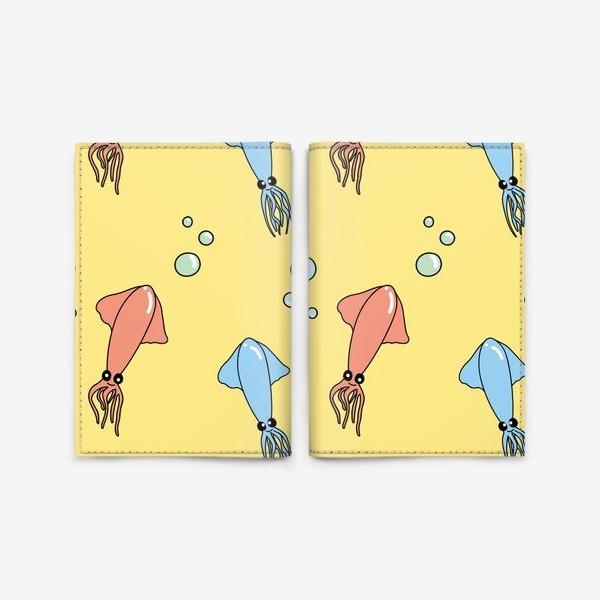 Обложка для паспорта «Паттерн с кальмарами»