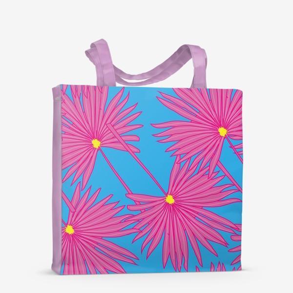 Сумка-шоппер «Паттерн пальмы на голубом»