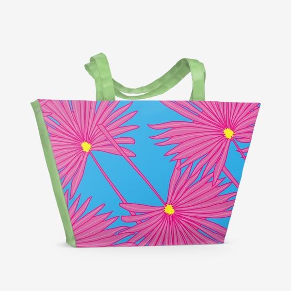 Пляжная сумка «Паттерн пальмы на голубом»