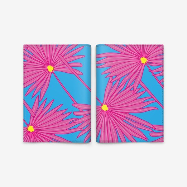 Обложка для паспорта «Паттерн пальмы на голубом»