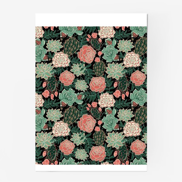 Постер «succulents and roses»