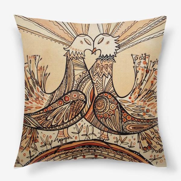 Подушка «Любовь и голуби»