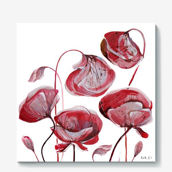 Холст «Цветы Маки акварельные»