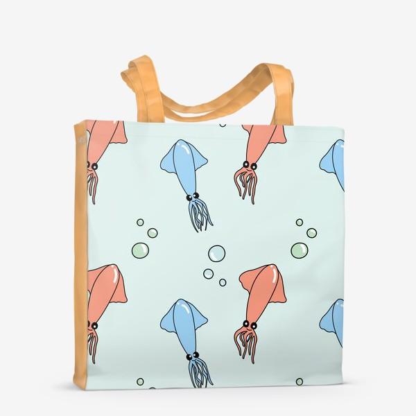Сумка-шоппер «Паттерн с кальмарами на голубом»