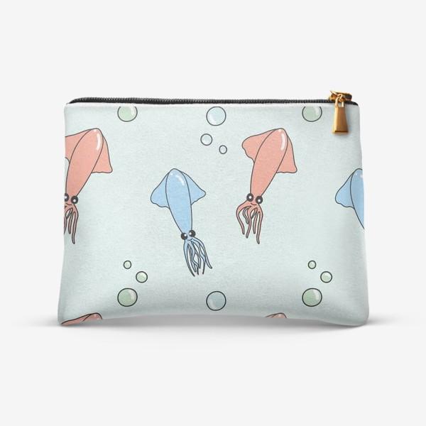 Косметичка «Паттерн с кальмарами на голубом»