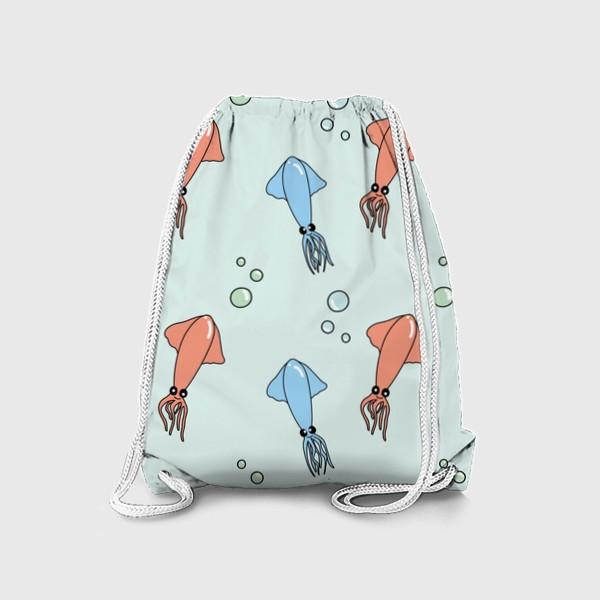 Рюкзак «Паттерн с кальмарами на голубом»