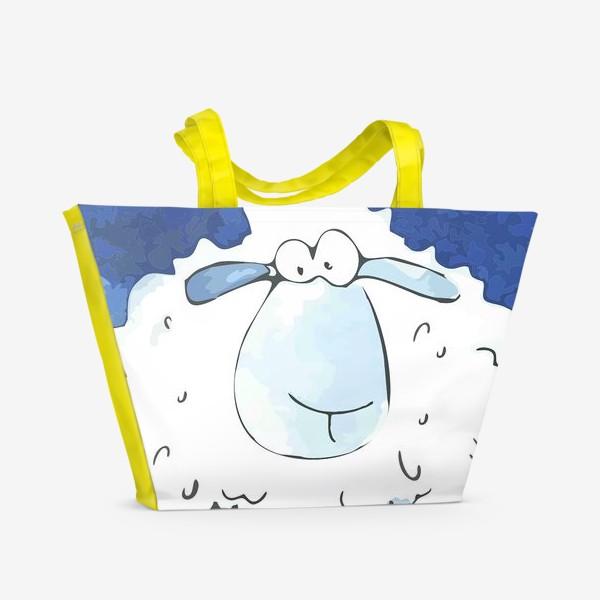 Пляжная сумка «Кудрявая белая овечка»
