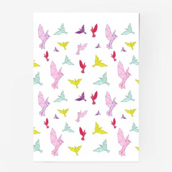 Постер «Птицы геометрия ярко »
