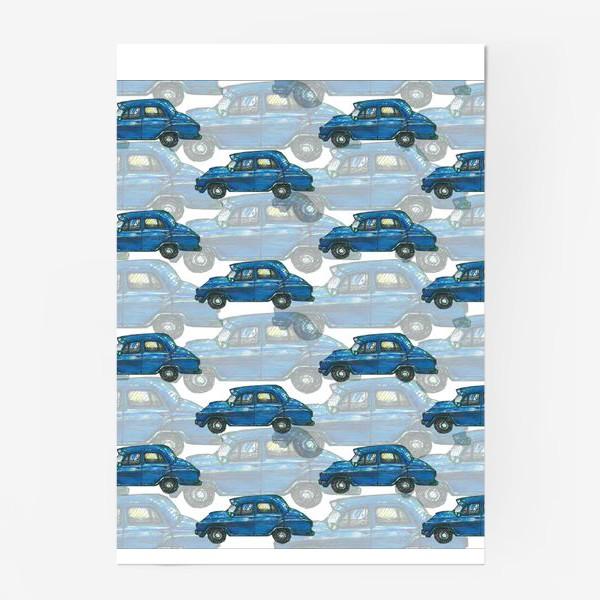 Постер «Авто тачки машины синий паттерн »
