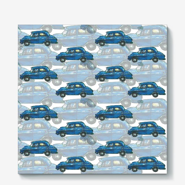 Холст «Авто тачки машины синий паттерн »