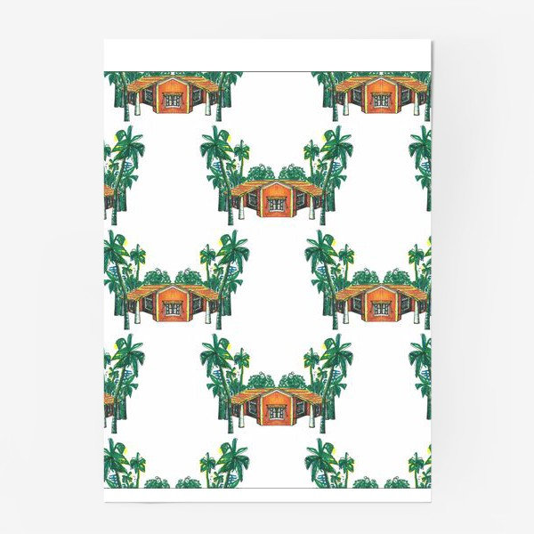 Постер «Паттерн дома пальмы рисунок»