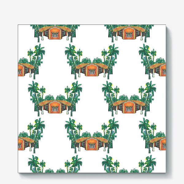 Холст «Паттерн дома пальмы рисунок»