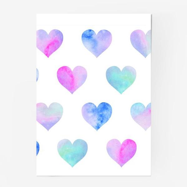Постер «Паттерн из сердец на белом фоне»