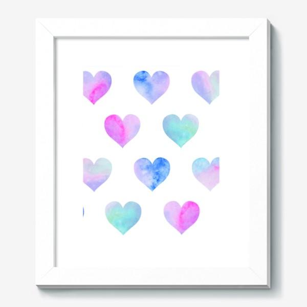 Картина «Паттерн из сердец на белом фоне»