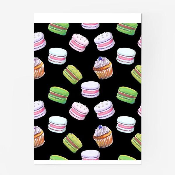 Постер «цветные макаруны и черничный капкейк на чёрном»