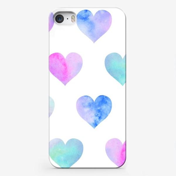 Чехол iPhone «Паттерн из сердец на белом фоне»