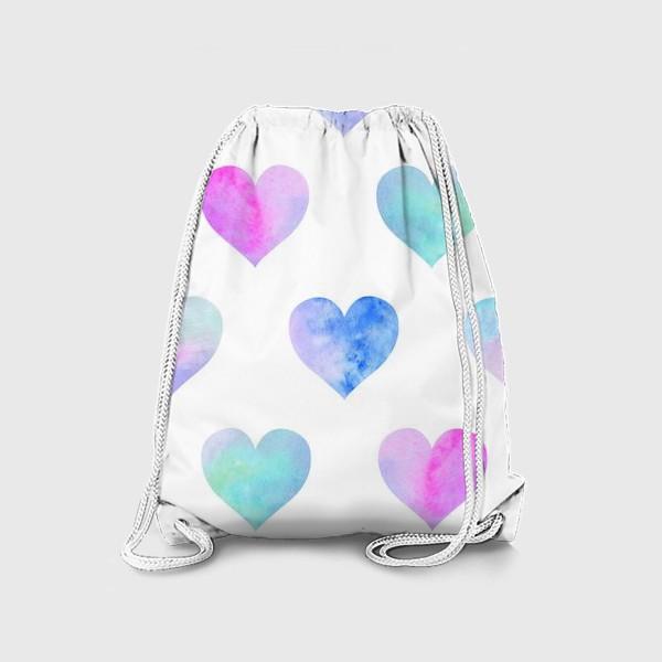 Рюкзак «Паттерн из сердец на белом фоне»