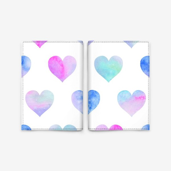 Обложка для паспорта «Паттерн из сердец на белом фоне»