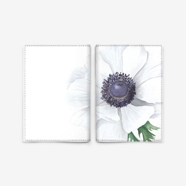 Обложка для паспорта «Белый анемон»