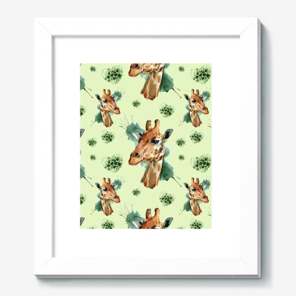 Картина «зеленый паттерн с жирафами»