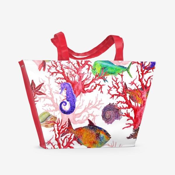 Пляжная сумка «Морские жители, кораллы и ракушки»
