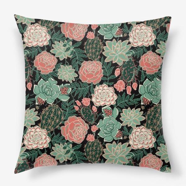 Подушка «succulents and roses»