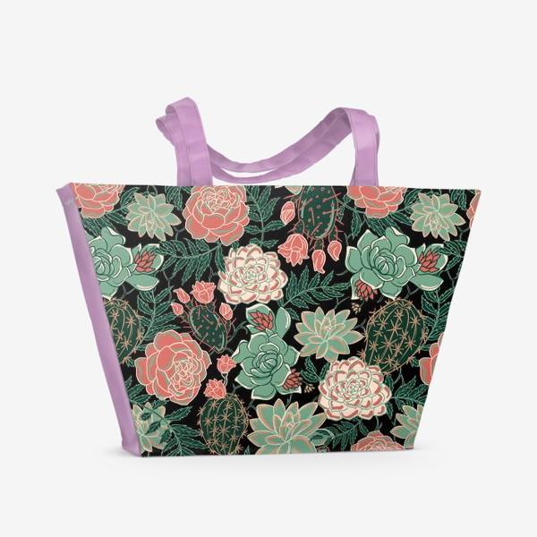 Пляжная сумка «succulents and roses»