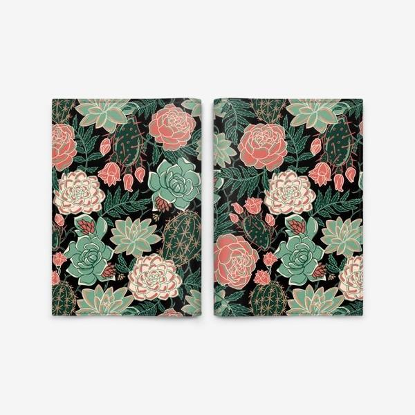 Обложка для паспорта «succulents and roses»